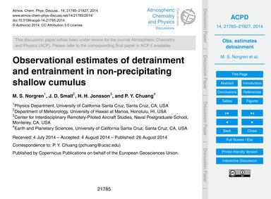 Observational Estimates of Detrainment a... by Norgren, M. S.