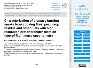 Characterization of Biomass Burning Smok... by Stockwell, C. E.