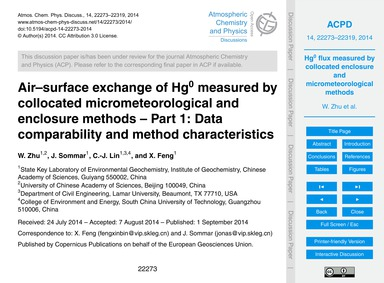 Air–surface Exchange of Hg0 Measured by ... by Zhu, W.
