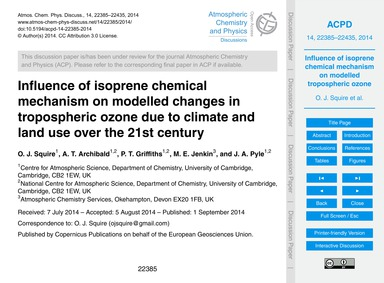 Influence of Isoprene Chemical Mechanism... by Squire, O. J.