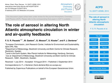 The Role of Aerosol in Altering North At... by Pausata, F. S. R.