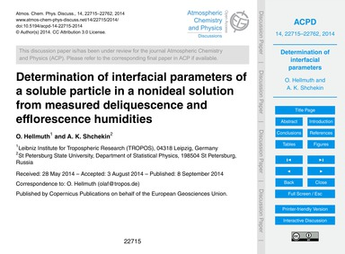 Determination of Interfacial Parameters ... by Hellmuth, O.