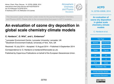 An Evaluation of Ozone Dry Deposition in... by Hardacre, C.