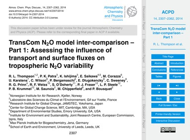 Transcom N2O Model Inter-comparison – Pa... by Thompson, R. L.