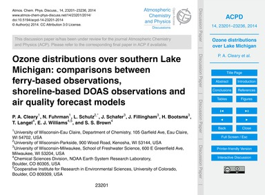 Ozone Distributions Over Southern Lake M... by Cleary, P. A.