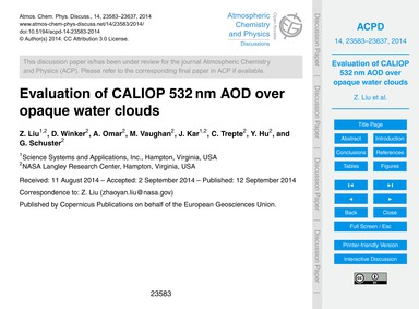 Evaluation of Caliop 532 Nm Aod Over Opa... by Liu, Z.