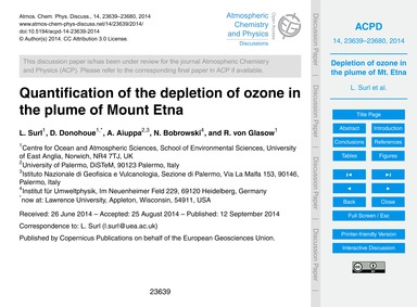 Quantification of the Depletion of Ozone... by Surl, L.