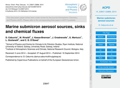 Marine Submicron Aerosol Sources, Sinks ... by Ceburnis, D.