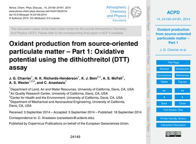Oxidant Production from Source-oriented ... by Charrier, J. G.