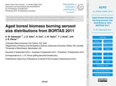 Aged Boreal Biomass Burning Aerosol Size... by Sakamoto, K. M.