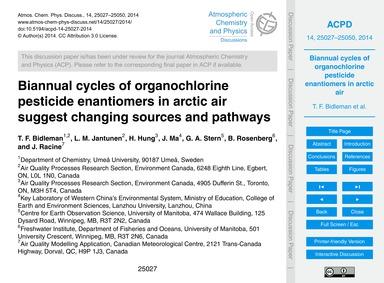 Biannual Cycles of Organochlorine Pestic... by Bidleman, T. F.