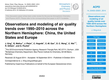 Observations and Modeling of Air Quality... by Xing, J.