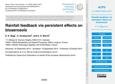 Rainfall Feedback Via Persistent Effects... by Bigg, E. K.