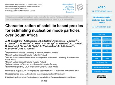 Characterization of Satellite Based Prox... by Sundström, A.-m.