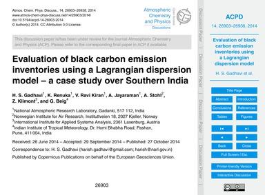 Evaluation of Black Carbon Emission Inve... by Gadhavi, H. S.