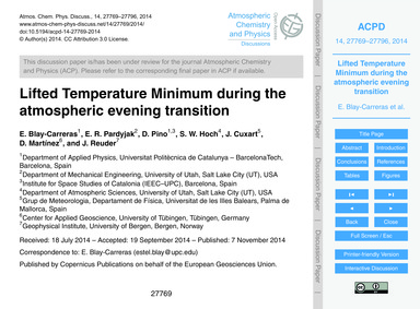Lifted Temperature Minimum During the At... by Blay-carreras, E.