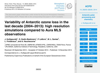 Variability of Antarctic Ozone Loss in t... by Kuttippurath, J.