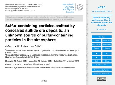 Sulfur-containing Particles Emitted by C... by Cao, J.