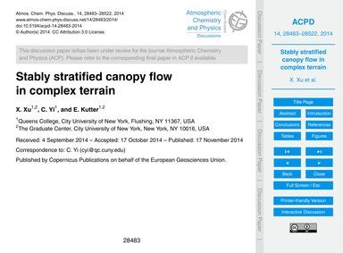 Stably Stratified Canopy Flow in Complex... by Xu, X.