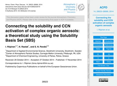 Connecting the Solubility and Ccn Activa... by Riipinen, I.