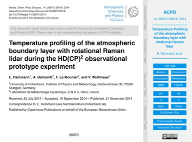 Temperature Profiling of the Atmospheric... by Hammann, E.