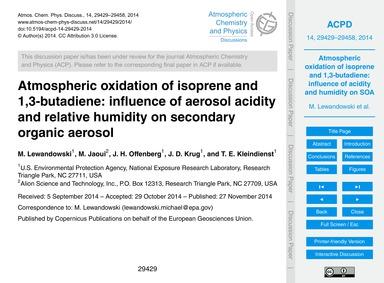 Atmospheric Oxidation of Isoprene and 1,... by Lewandowski, M.