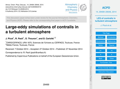 Large-eddy Simulations of Contrails in a... by Picot, J.