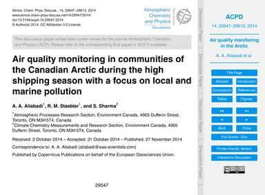Air Quality Monitoring in Communities of... by Aliabadi, A. A.