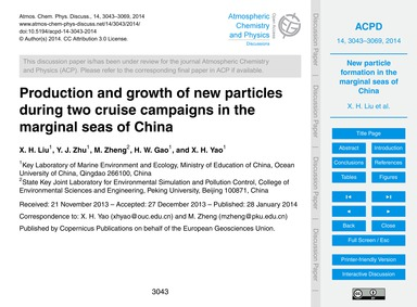 Production and Growth of New Particles D... by Liu, X. H.