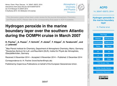 Hydrogen Peroxide in the Marine Boundary... by Fischer, H.