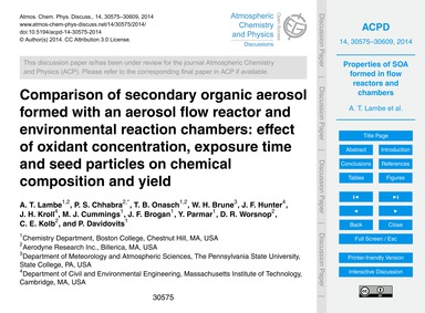 Comparison of Secondary Organic Aerosol ... by Lambe, A. T.