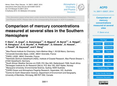 Comparison of Mercury Concentrations Mea... by Slemr, F.