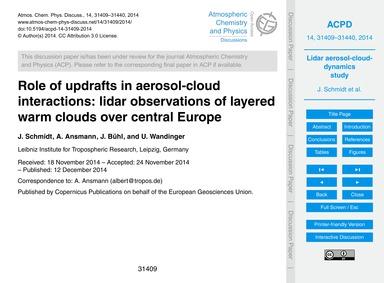 Role of Updrafts in Aerosol-cloud Intera... by Schmidt, J.