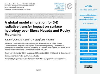 A Global Model Simulation for 3-d Radiat... by Lee, W.-l.
