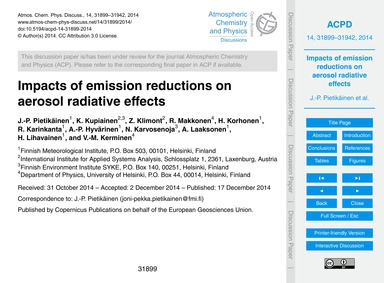 Impacts of Emission Reductions on Aeroso... by Pietikäinen, J.-p.