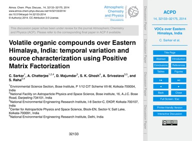 Volatile Organic Compounds Over Eastern ... by Sarkar, C.