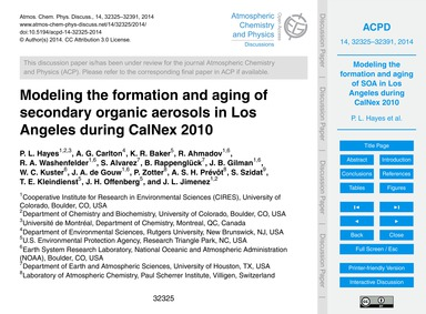 Modeling the Formation and Aging of Seco... by Hayes, P. L.