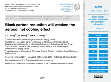 Black Carbon Reduction will Weaken the A... by Wang, Z. L.