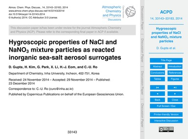 Hygroscopic Properties of Nacl and Nano3... by Gupta, D.
