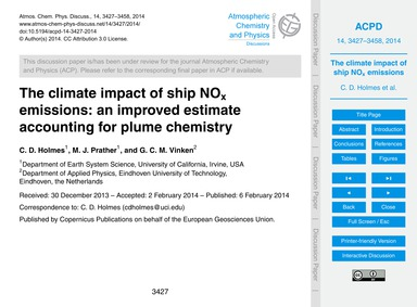 The Climate Impact of Ship NoX Emissions... by Holmes, C. D.