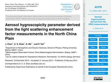 Aerosol Hygroscopicity Parameter Derived... by Chen, J.