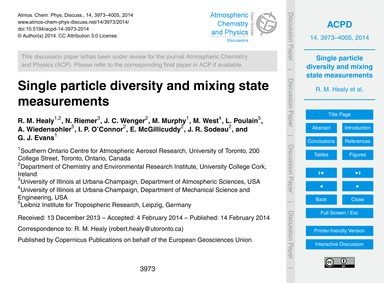Single Particle Diversity and Mixing Sta... by Healy, R. M.