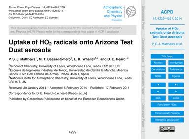 Uptake of Ho2 Radicals Onto Arizona Test... by Matthews, P. S. J.