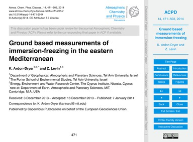 Ground Based Measurements of Immersion-f... by Ardon-dryer, K.