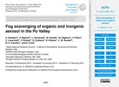 Fog Scavenging of Organic and Inorganic ... by Gilardoni, S.