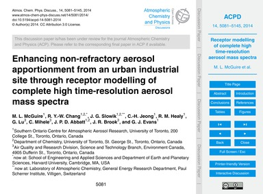Enhancing Non-refractory Aerosol Apporti... by McGuire, M. L.