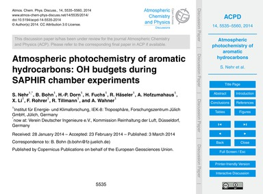 Atmospheric Photochemistry of Aromatic H... by Nehr, S.