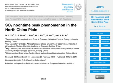 So2 Noontime Peak Phenomenon in the Nort... by Xu, W. Y.