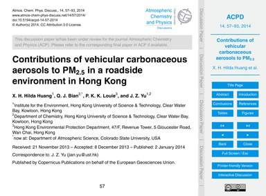 Contributions of Vehicular Carbonaceous ... by Hilda Huang, X. H.