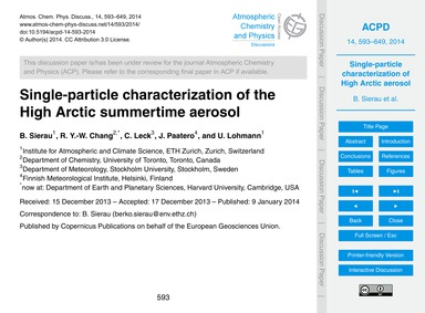 Single-particle Characterization of the ... by Sierau, B.